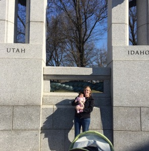 At the World War 2 memorial. Thankfully, Utah and Idaho are right next to each other because we weren't really sure which one gets to claim Allie.  In addition to WW2, we have also been to all the other monuments.