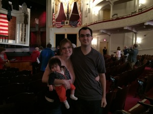We went to a show at Ford's Theatre. Above us in the picture is the box where Lincoln was shot. The show was AWESOME, Scott and I both really liked it.