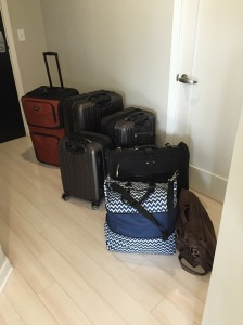 All of our luggage ready to hit the road. We had 5 suitcases, 1 large carry on, 1 briefcase, 1 back pack, 1 diaper bag, 1 car seat, and 1 stroller.